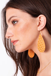 Leather Exotic Print Teardrop Earring With Gold Foil