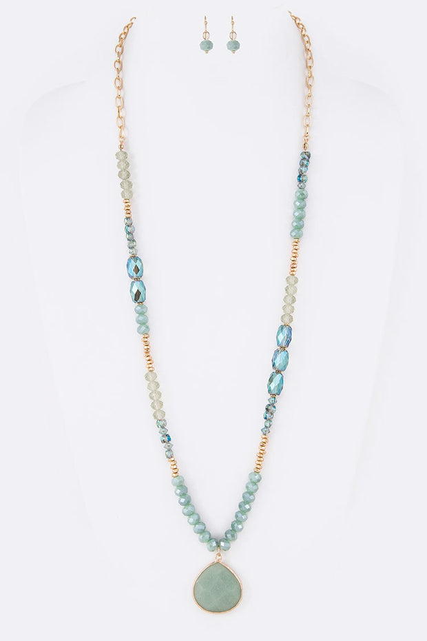 Genuine Stone Pendant Mix Beads Long Necklace Set