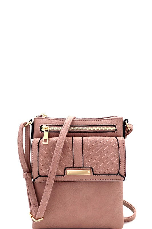 Chevron Quilted Multi-Pocket Cross Body Messenger