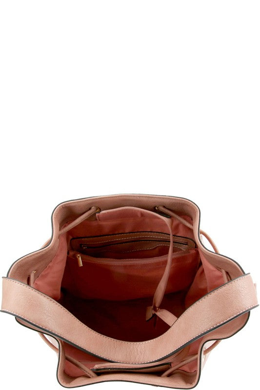 Whipstitch Accent Drawstring Bucket Hobo