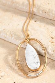 Natural Stone and Ring Necklace