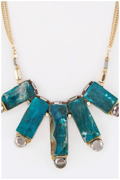 Genuine Stone Wired Beads Statement Necklace