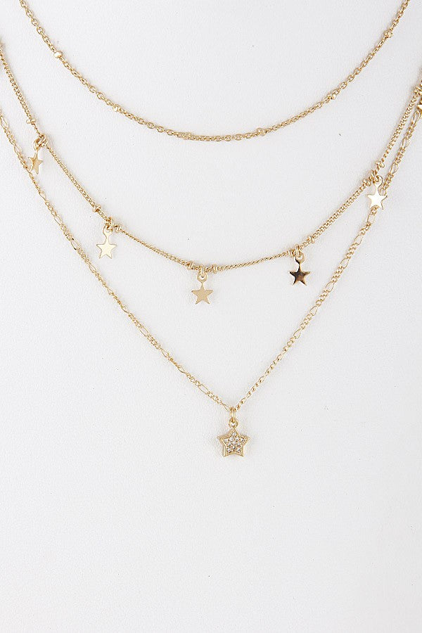 3 Layer Star Charm Necklace