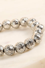 Hammered Metal Beads Stretch Bracelet