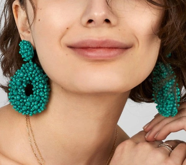 Seed Beaded Teardrop Statement Earring