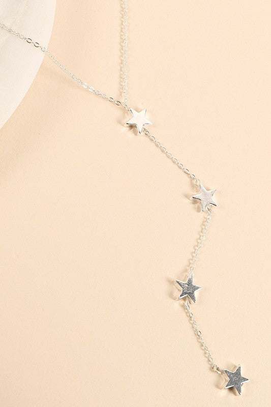Y Shape Star Charms Long Necklace