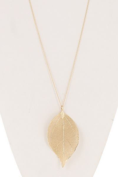 Brazilian Leaf Pendant Long Necklace