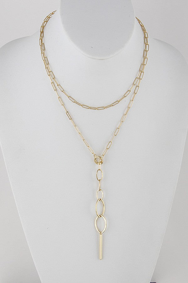 Layered Oval Chain Link Necklace