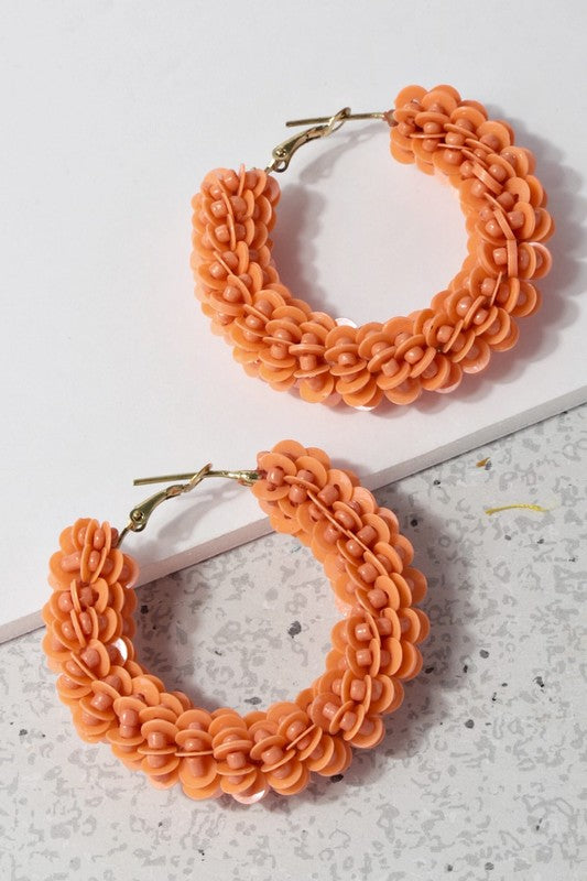 Sequin And Seed Bead Wrapped Hoop Earrings