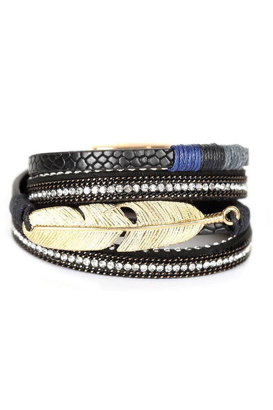 Metal Feather Leaf Charm Leather Bracelet
