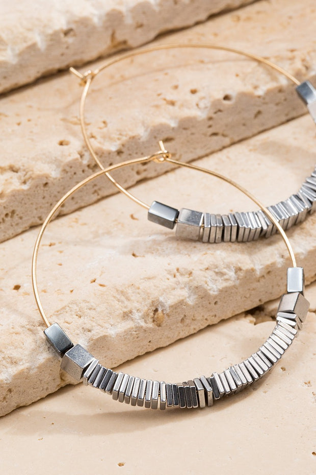 Cube Bead Hoop Earrings