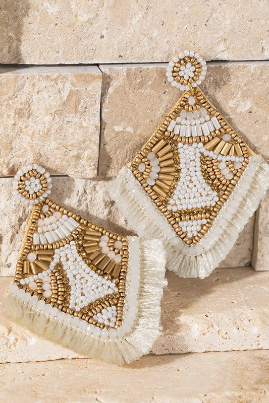 Triangle Seed Beaded Tassel Earrings