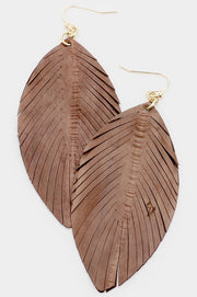 Leather Cut Leaf Drop Earrings