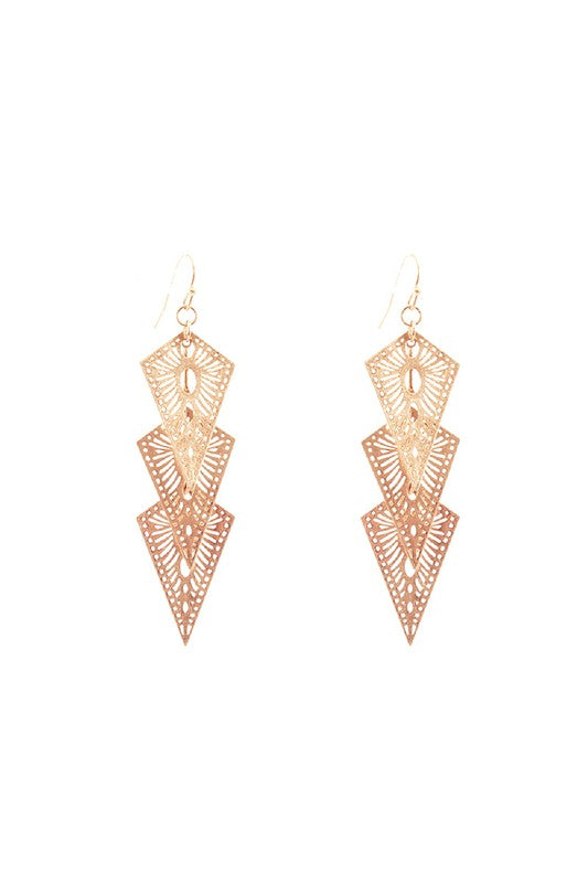 Metal Filigree 3 Layered Baroque Drop Earring