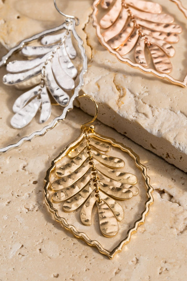 Hammered Metal Leaf Earring