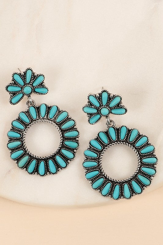 Western Style Round Dangling Earrings With Natural Stones