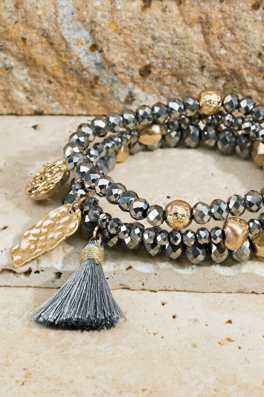 3 Piece Hammered Metal Charm Beaded Bracelet Set