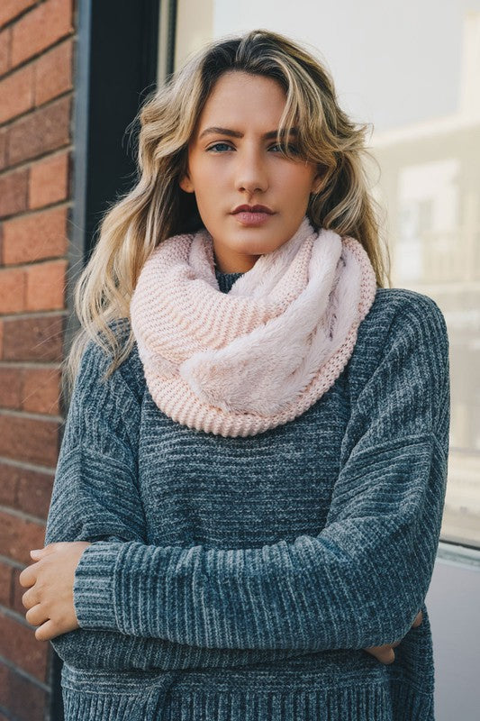 Knit Infinity Scarf with Faux Sherpa Lining