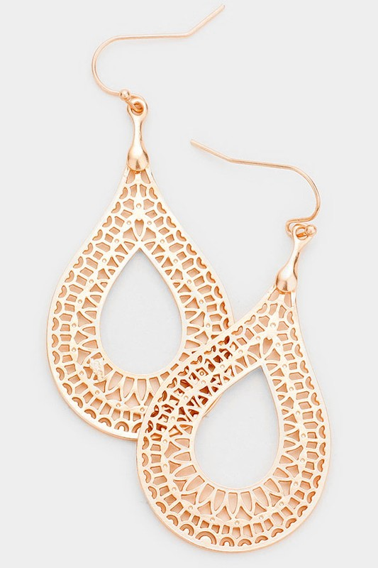 Filigree Open Teardrop Dangle Earring