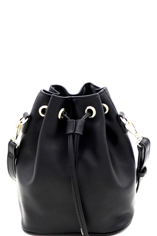 Drawstring  2 Way Bucket Satchel Shoulder Bag