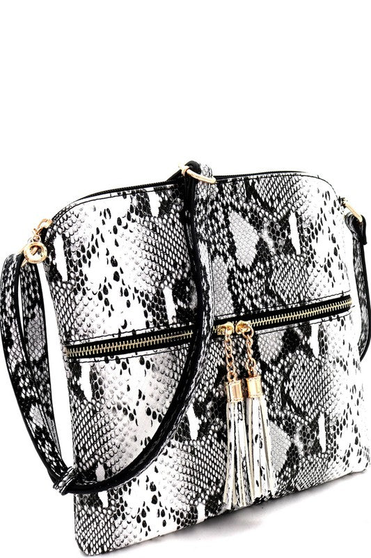 Snake Print Tassel Accent Crossbody Bag