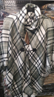 Plaid Print Poncho With Buckle