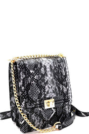 Snake Print Turn-Lock 2-Way Chain Shoulder Bag