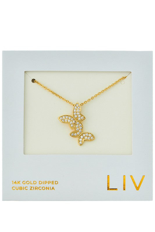 Double Butterfly Dipped CZ Necklace