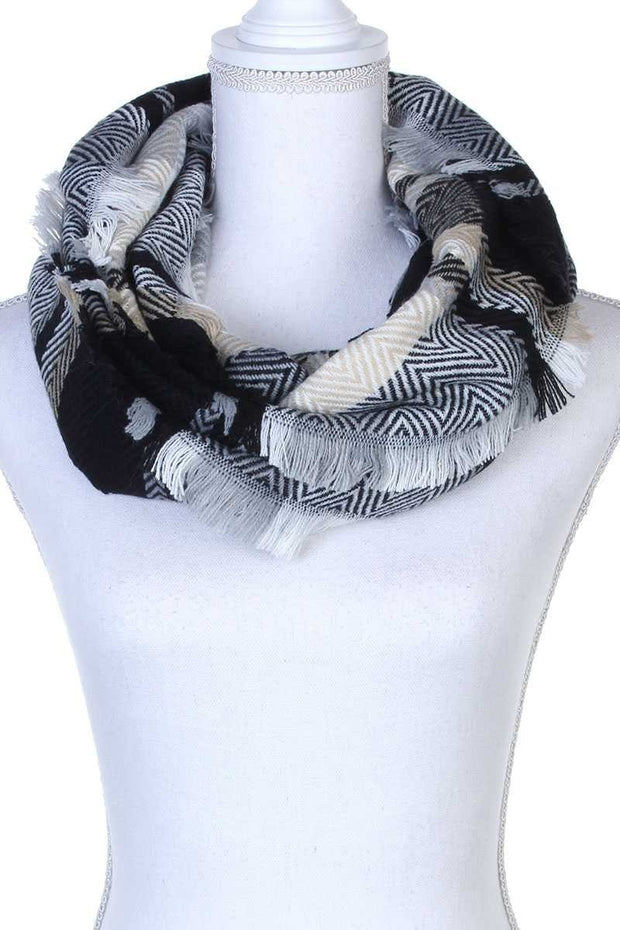 Plaid & Chevron Patterned Infinity Scarf