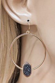 Raw Druzy Dangle Earring
