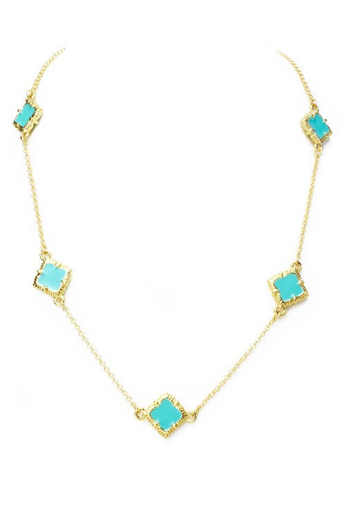 Gold Enamel Clover Necklace