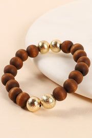 Wood Metal Beads Stretch Bracelet