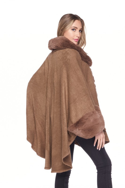 Super Soft Faux Fur Collar Cape Poncho