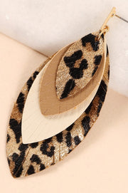 Layered Feather Animal Print PU Leather Earrings