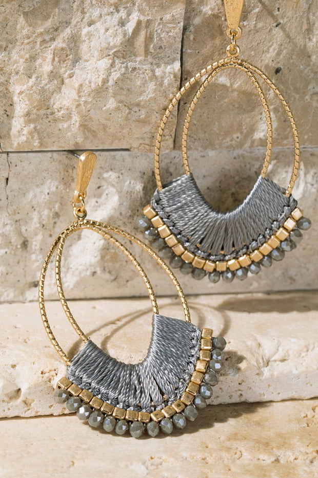 Open Circle Threaded Bead Cluster Earrings