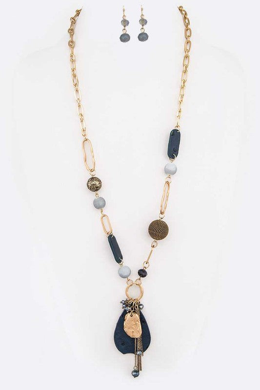 Mix Media Long Pendant Necklace