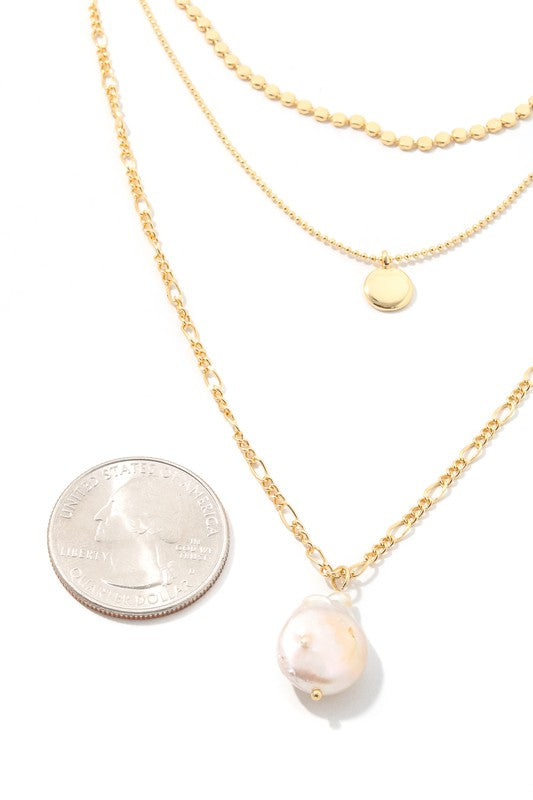 Pearl & Disc Charm Necklace