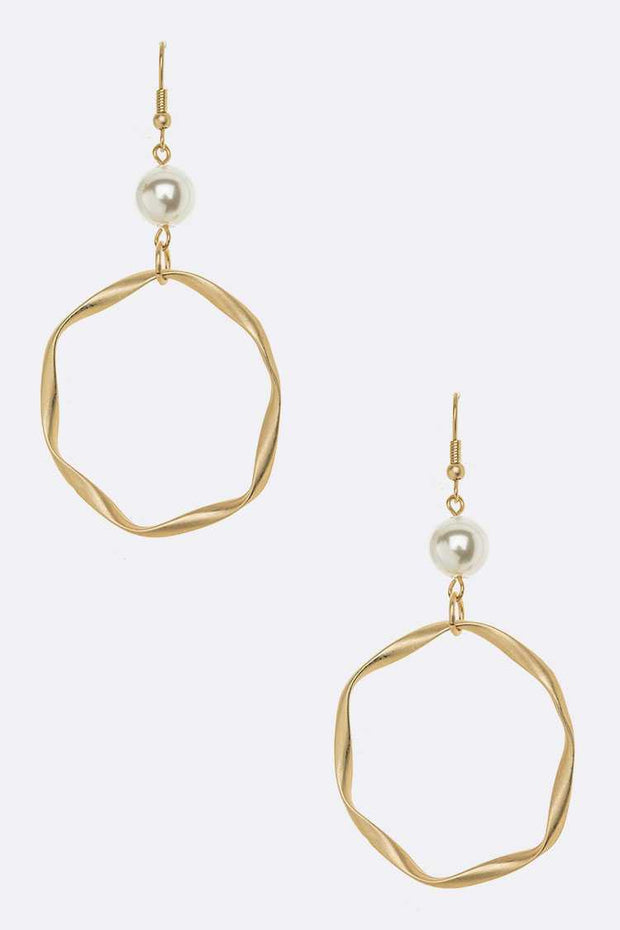 Pearl And Hoop Drop Earrings