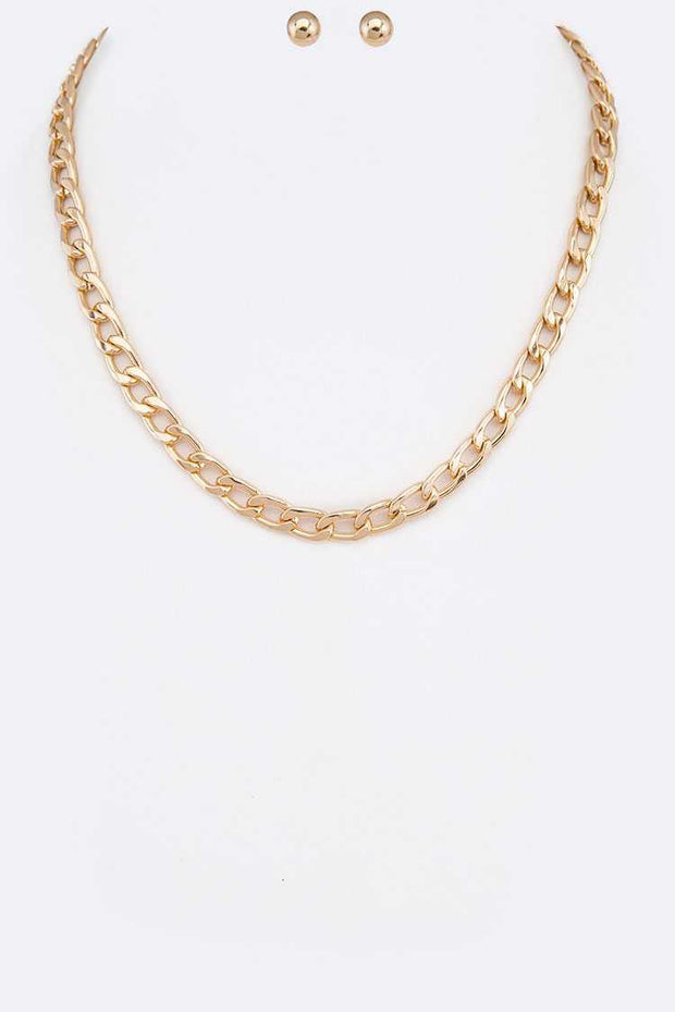 Curb Chain Necklace Set