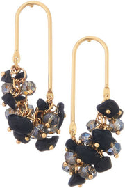 Oval Natural Stones & Glass Beads Dangling Earrings