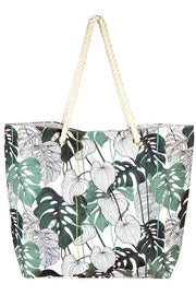 Tropical Leaf Print Tote Bag