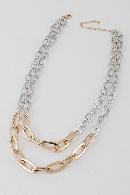 Gold & Silver Colored Double Layered Chain Necklace