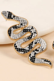 Snake Embossed PU Leather Drop Earrings