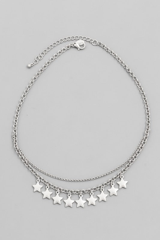 Layered Star Charm Chain Necklace