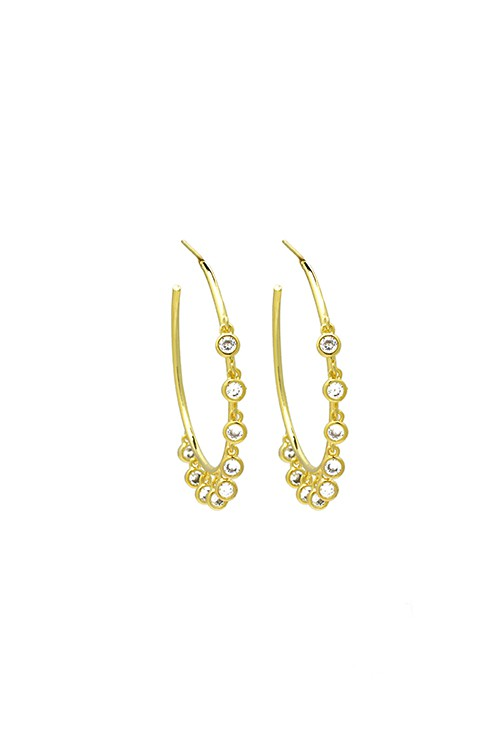 18k Gold Hoop Earring with Cubic Zirconia Charms