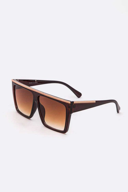 Gold Trim Oversize Square Sunglasses