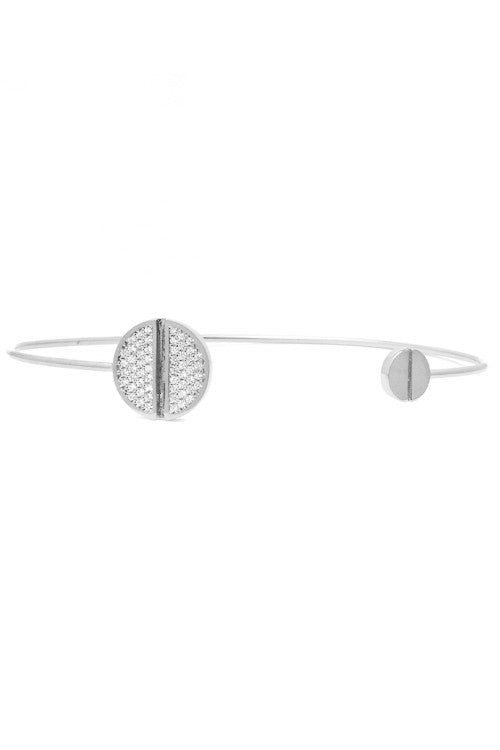 Pave Screw Open Cuff Bracelet