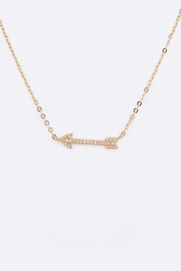CZ Pave Arrow Pendant Necklace