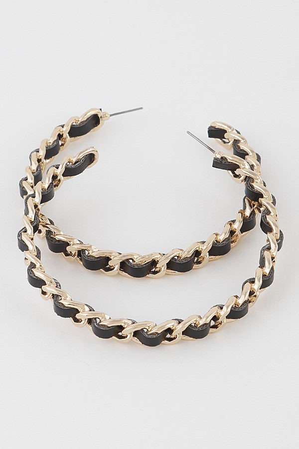Faux Leather Chain Hoop Earrings