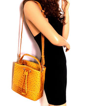 Ostrich Print 2-Way Bucket Handbag